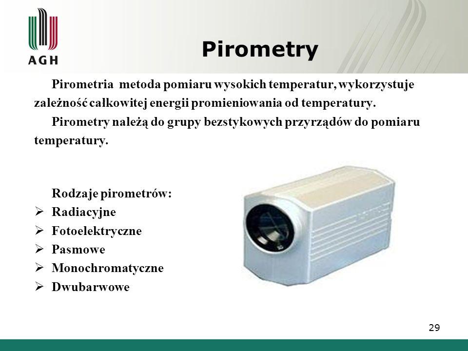 Pirometry Pirometria metoda pomiaru wysokich temperatur, wykorzystuje zależność całkowitej energii promieniowania od temperatury. Pirometry należą do