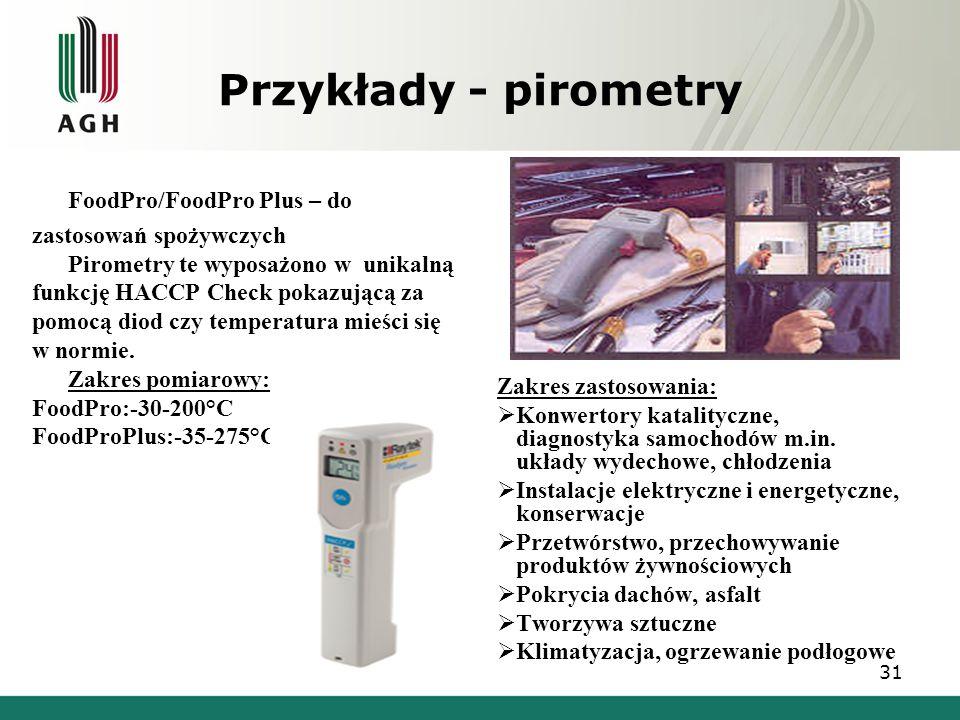 Przykłady - pirometry FoodPro/FoodPro Plus – do zastosowań spożywczych  Pirometry te wyposażono w unikalną funkcję HACCP Check pokazującą za pomocą d