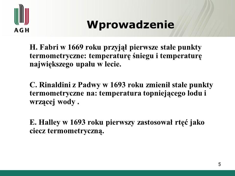 Wprowadzenie  H. Fabri w 1669 roku przyjął pierwsze stałe punkty termometryczne: temperaturę śniegu i temperaturę największego upału w lecie.  C. Ri