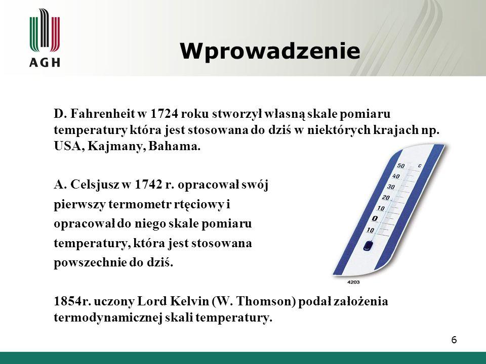 Skale termometryczne Skala Kelvina Jednostka układu SI, oznaczenie: K Punktem zerowym w skali Kelvina jest 0 bezwzględne, odpowiadające temperaturze w skali Celsjusza -273.15° C.