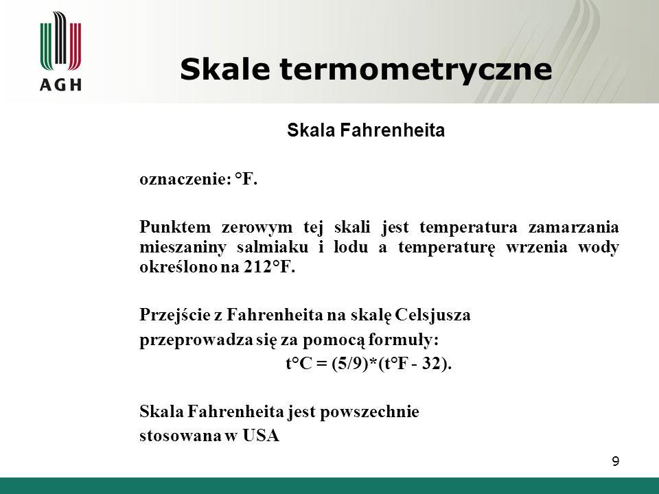 Skale termometryczne Skala Fahrenheita  oznaczenie: °F.  Punktem zerowym tej skali jest temperatura zamarzania mieszaniny salmiaku i lodu a temperat