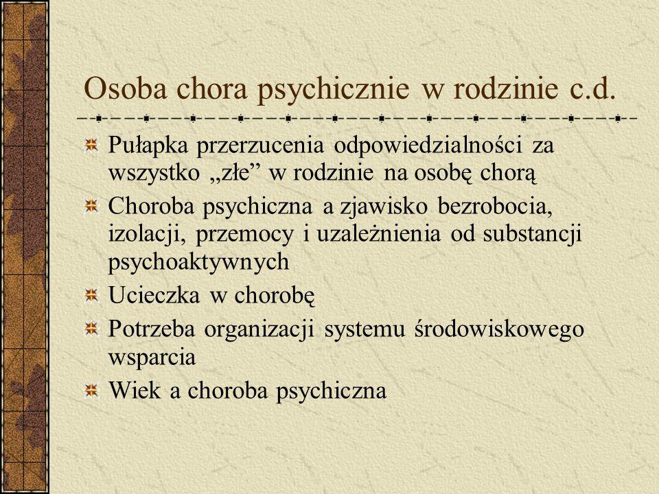 Osoba chora psychicznie w rodzinie Diagnoza rodziny niekoniecznie musi być prawdziwa Niewiele osób przy pierwszym kryzysie psychicznym sama dostrzega