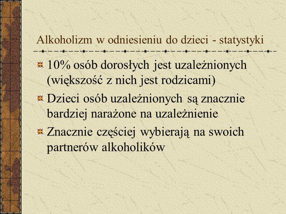 Fazy rozwoju alkoholizmu – stadium przewlekłe Ciągi picia Degradacja moralna Obniżenie sprawności intelektualnej Psychozy alkoholowe – u ok. 10% pijąc