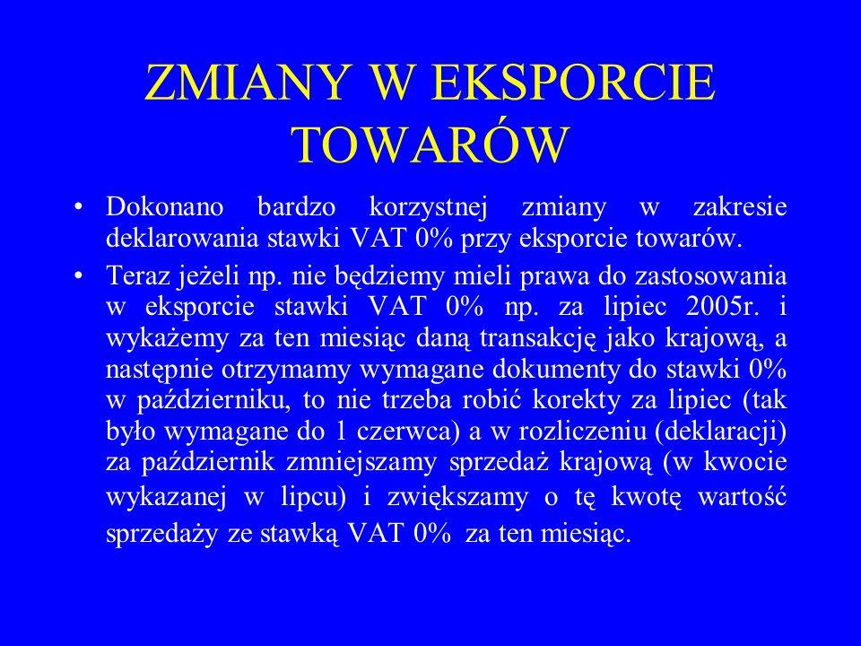 ZMIANY W EKSPORCIE TOWARÓW Dokonano bardzo korzystnej zmiany w zakresie deklarowania stawki VAT 0% przy eksporcie towarów. Teraz jeżeli np. nie będzie