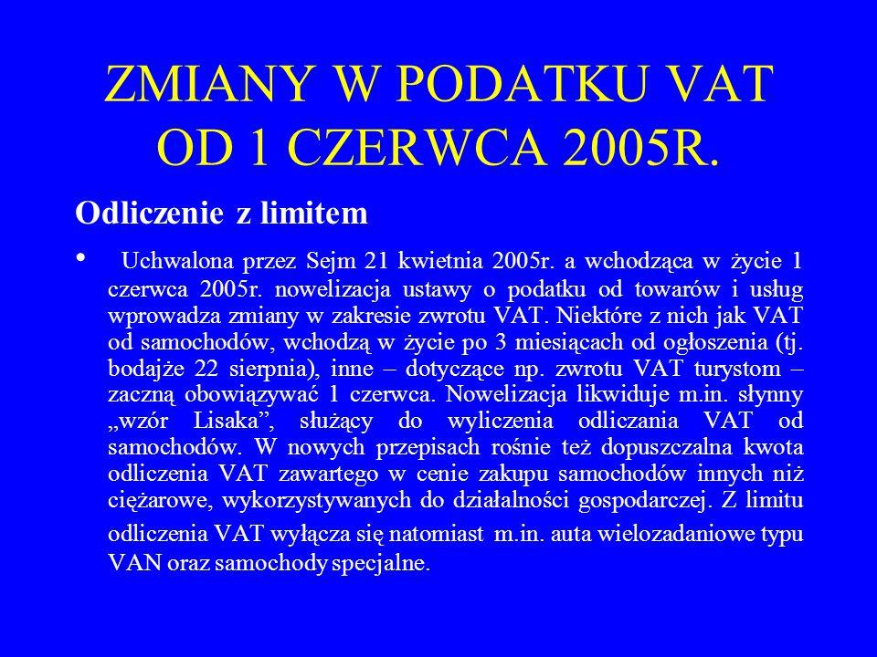 ZMIANY W PODATKU VAT OD 1 CZERWCA 2005R. Odliczenie z limitem Uchwalona przez Sejm 21 kwietnia 2005r. a wchodząca w życie 1 czerwca 2005r. nowelizacja