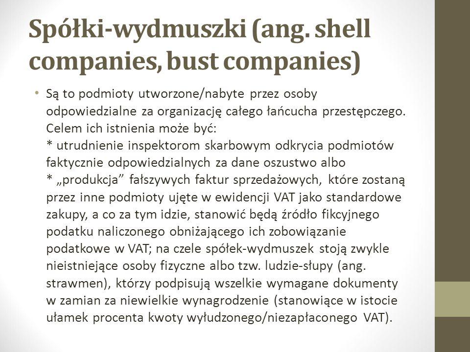 Spółki-wydmuszki (ang. shell companies, bust companies) Są to podmioty utworzone/nabyte przez osoby odpowiedzialne za organizację całego łańcucha prze