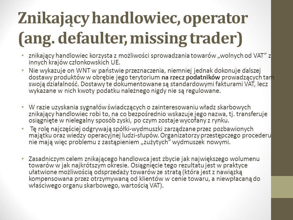 """Znikający handlowiec, operator (ang. defaulter, missing trader) znikający handlowiec korzysta z możliwości sprowadzania towarów """"wolnych od VAT"""" z inn"""