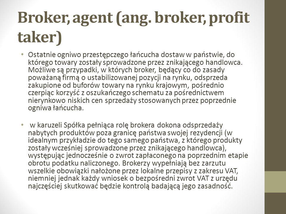 Broker, agent (ang. broker, profit taker) Ostatnie ogniwo przestępczego łańcucha dostaw w państwie, do którego towary zostały sprowadzone przez znikaj