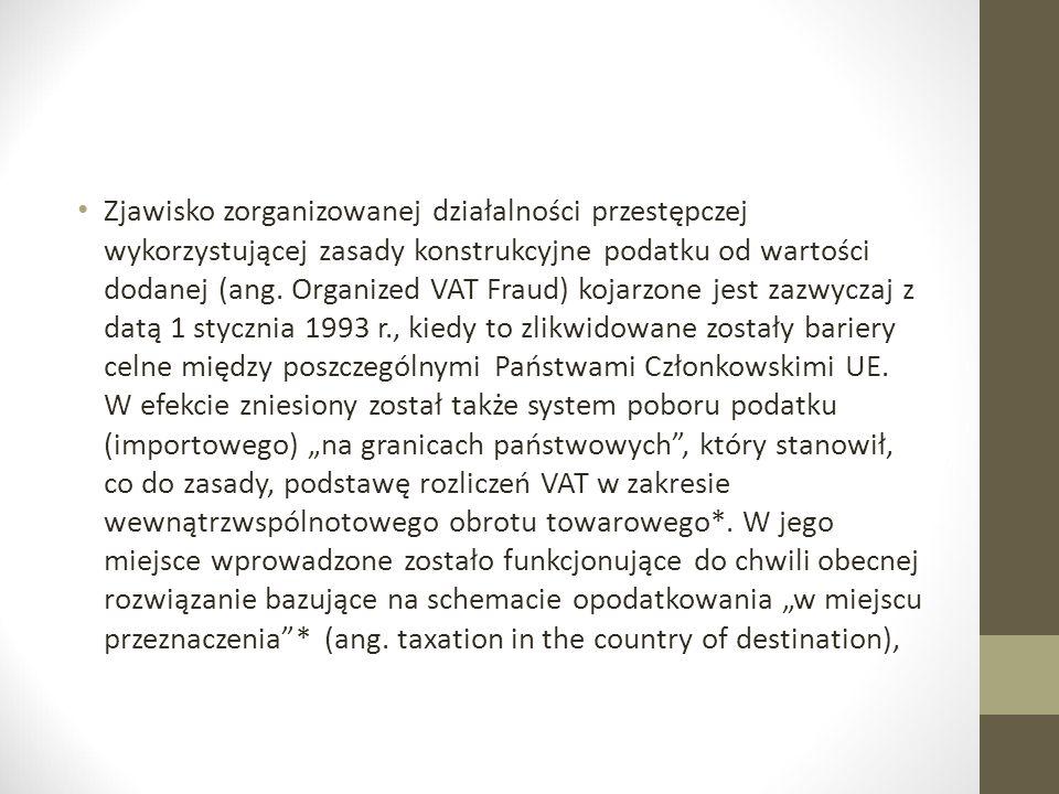 Zjawisko zorganizowanej działalności przestępczej wykorzystującej zasady konstrukcyjne podatku od wartości dodanej (ang. Organized VAT Fraud) kojarzon