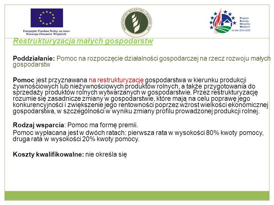 Restrukturyzacja małych gospodarstw Poddziałanie: Pomoc na rozpoczęcie działalności gospodarczej na rzecz rozwoju małych gospodarstw Pomoc jest przyznawana na restrukturyzację gospodarstwa w kierunku produkcji żywnościowych lub nieżywnościowych produktów rolnych, a także przygotowania do sprzedaży produktów rolnych wytwarzanych w gospodarstwie.