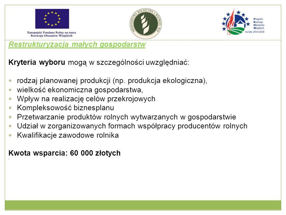Restrukturyzacja małych gospodarstw Kryteria wyboru mogą w szczególności uwzględniać: rodzaj planowanej produkcji (np.