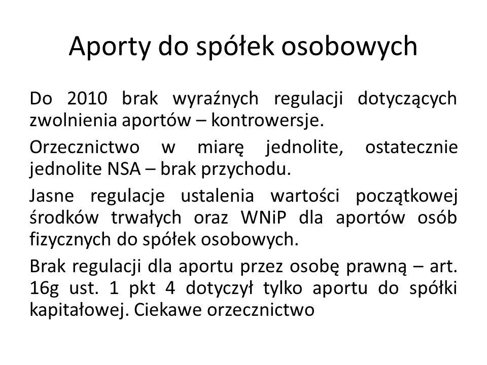 Aporty do spółek osobowych Do 2010 brak wyraźnych regulacji dotyczących zwolnienia aportów – kontrowersje.