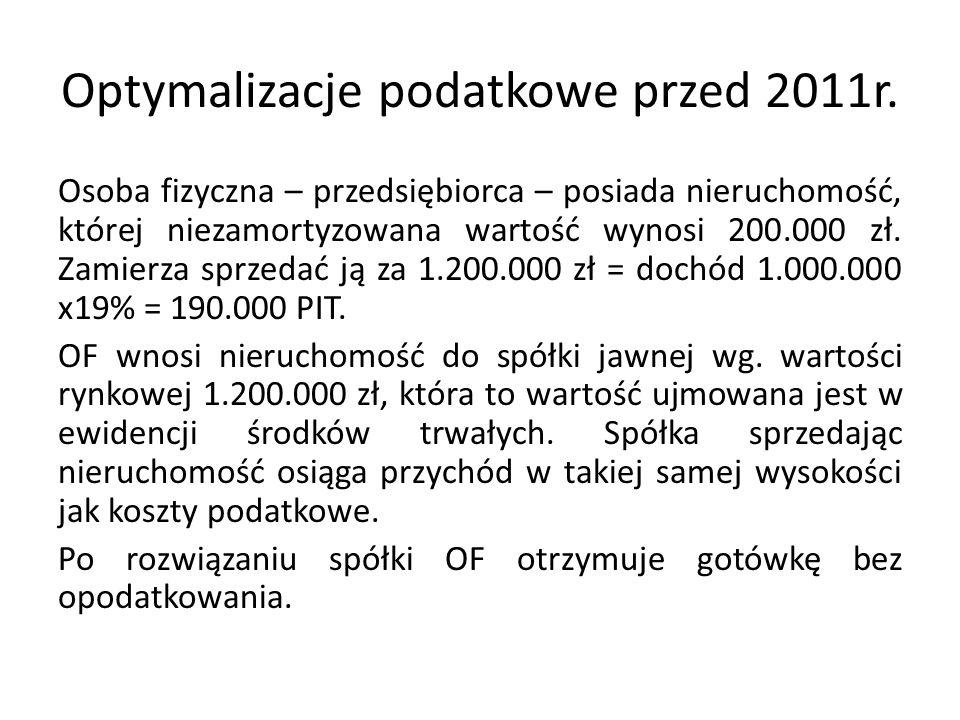 Optymalizacje podatkowe przed 2011r.