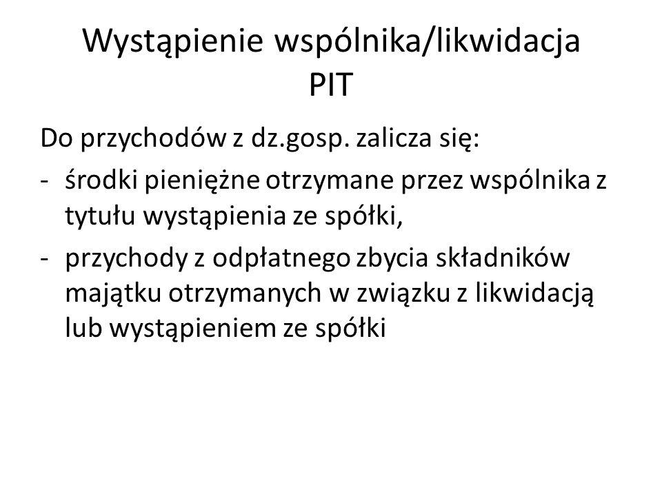 Wystąpienie wspólnika/likwidacja PIT Do przychodów z dz.gosp.