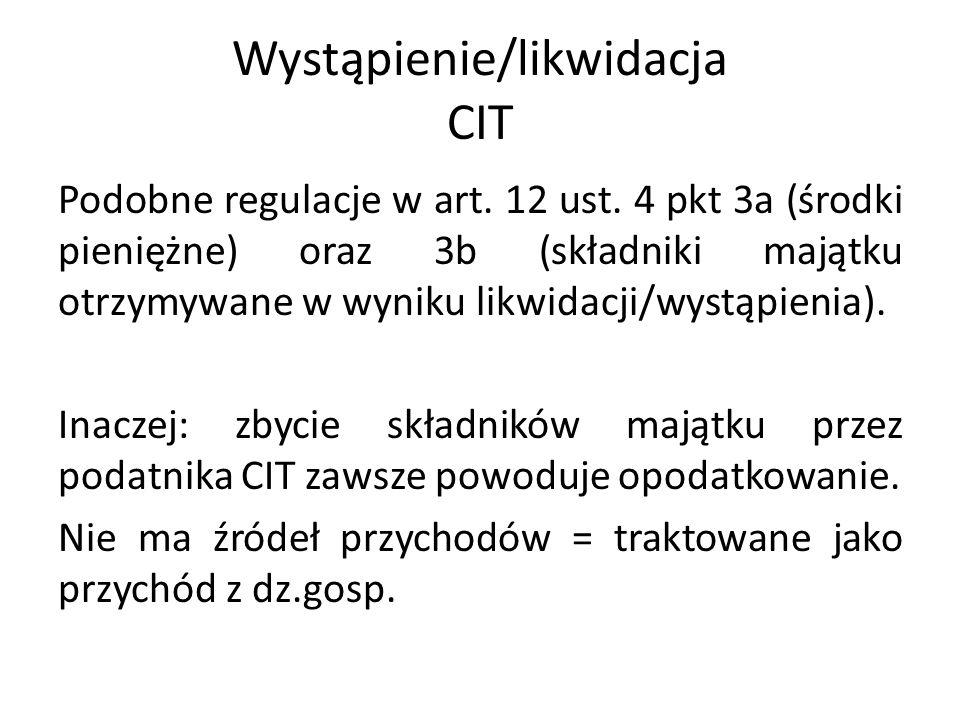 Wystąpienie/likwidacja CIT Podobne regulacje w art.