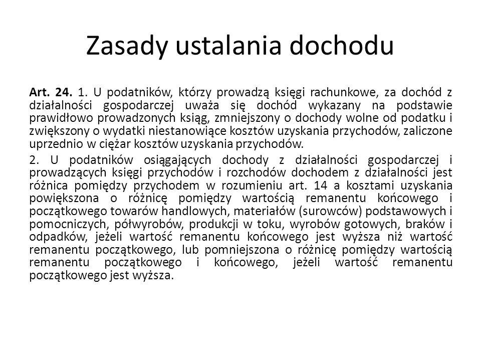 Zasady ustalania dochodu Art.24. 1.