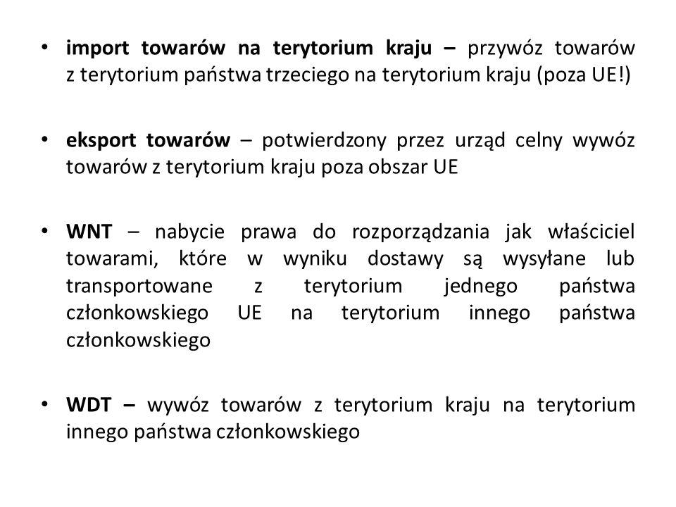 import towarów na terytorium kraju – przywóz towarów z terytorium państwa trzeciego na terytorium kraju (poza UE!) eksport towarów – potwierdzony przez urząd celny wywóz towarów z terytorium kraju poza obszar UE WNT – nabycie prawa do rozporządzania jak właściciel towarami, które w wyniku dostawy są wysyłane lub transportowane z terytorium jednego państwa członkowskiego UE na terytorium innego państwa członkowskiego WDT – wywóz towarów z terytorium kraju na terytorium innego państwa członkowskiego
