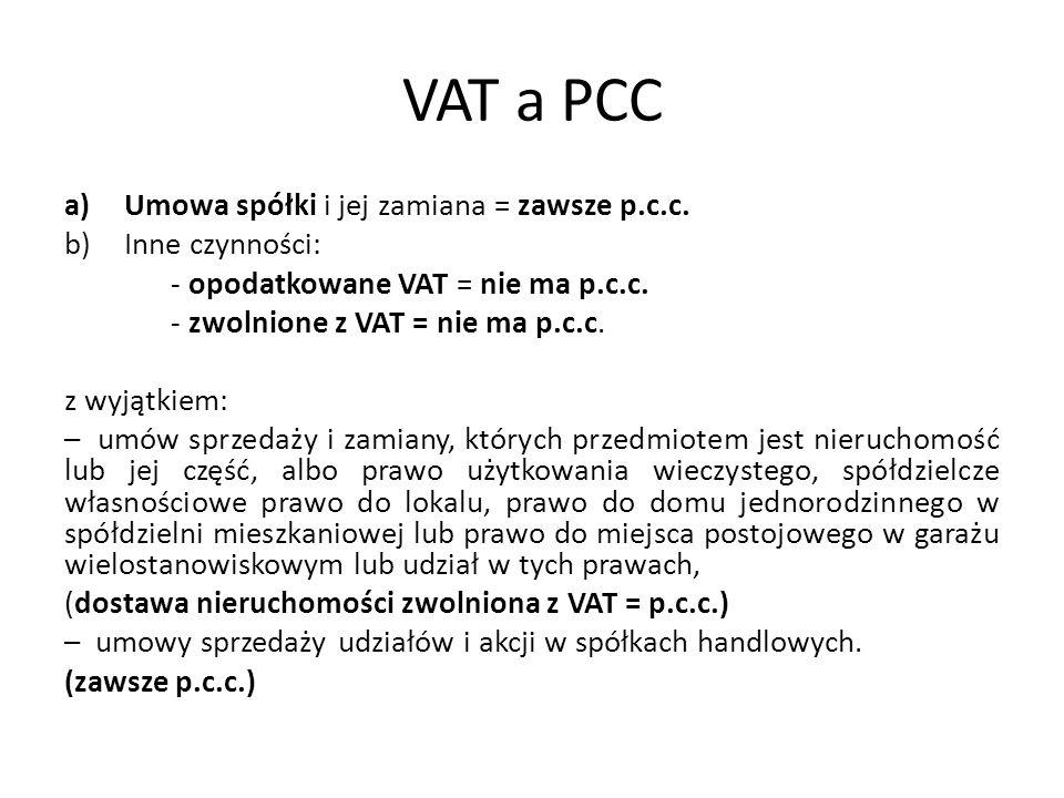 VAT a PCC a)Umowa spółki i jej zamiana = zawsze p.c.c.