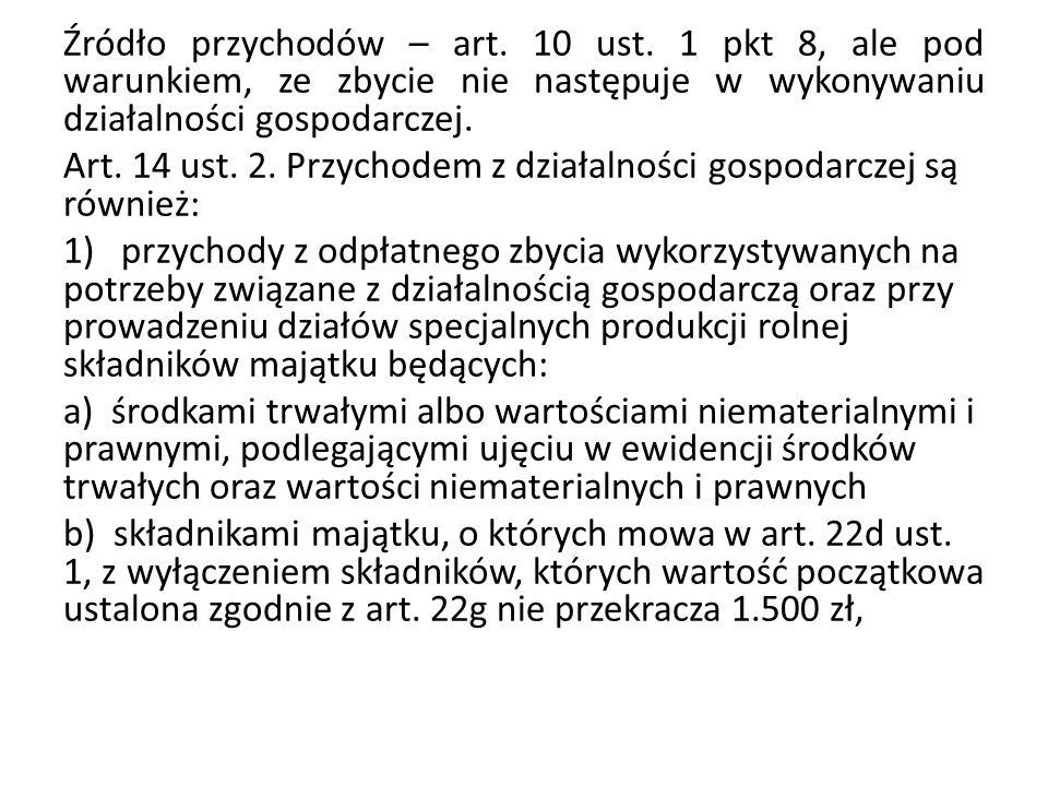 Źródło przychodów – art.10 ust.