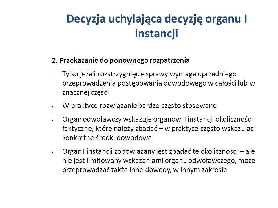Decyzja uchylająca decyzję organu I instancji 2.