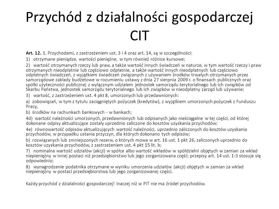 Przychód z działalności gospodarczej CIT Art.12. 1.