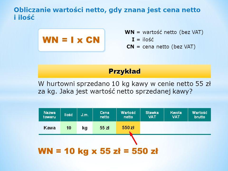 Obliczanie kwoty podatku, gdy znana jest wartość netto i stawka podatku KP =kwota podatku VAT WN =wartość netto SP =stawka podatku VAT Przykład W hurtowni sprzedano kawę o wartości netto 550 zł.
