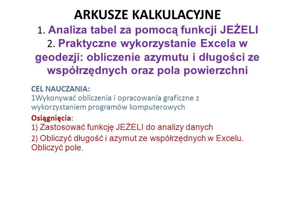 ARKUSZE KALKULACYJNE 1. Analiza tabel za pomocą funkcji JEŻELI 2. Praktyczne wykorzystanie Excela w geodezji: obliczenie azymutu i długości ze współrz
