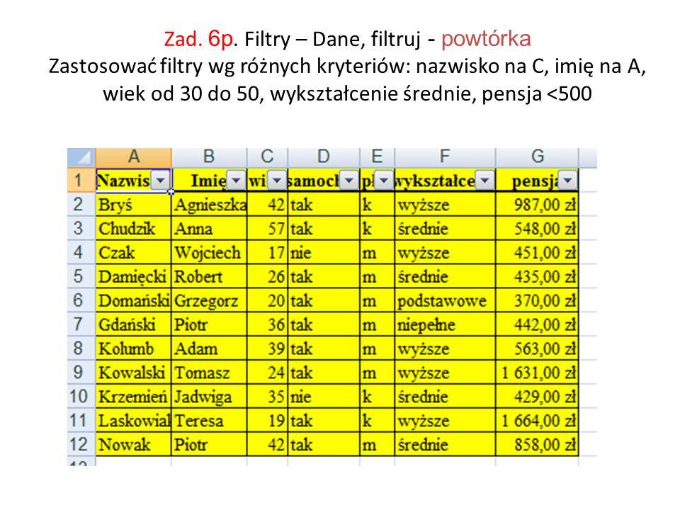 Zad. 6p. Filtry – Dane, filtruj - powtórka Zastosować filtry wg różnych kryteriów: nazwisko na C, imię na A, wiek od 30 do 50, wykształcenie średnie,