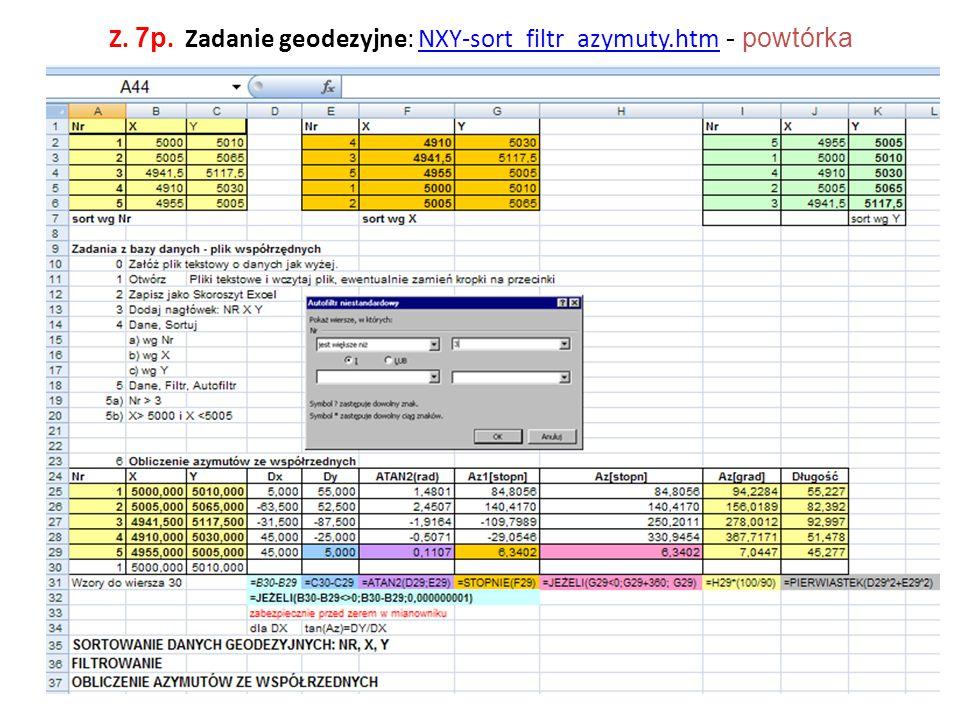 Z. 7p. Zadanie geodezyjne: NXY-sort_filtr_azymuty.htm - powtórkaNXY-sort_filtr_azymuty.htm