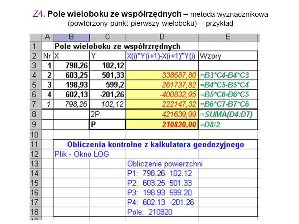 Z4. Pole wieloboku ze współrzędnych – metoda wyznacznikowa (powtórzony punkt pierwszy wieloboku) – przykład