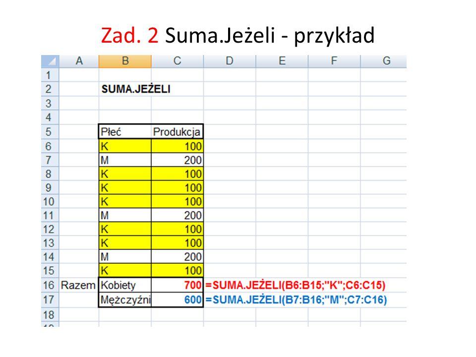 Zad. 2 Suma.Jeżeli - przykład