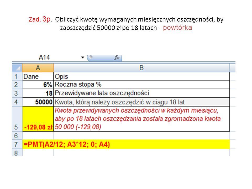 Zad. 3p. Obliczyć kwotę wymaganych miesięcznych oszczędności, by zaoszczędzić 50000 zł po 18 latach - powtórka