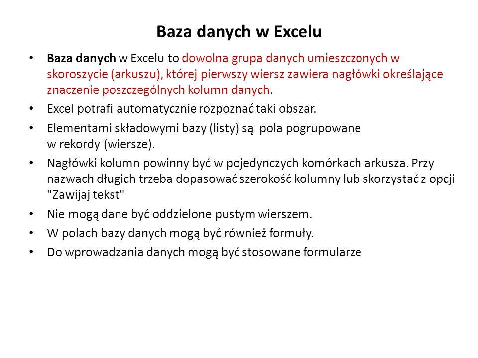 Baza danych w Excelu Baza danych w Excelu to dowolna grupa danych umieszczonych w skoroszycie (arkuszu), której pierwszy wiersz zawiera nagłówki okreś
