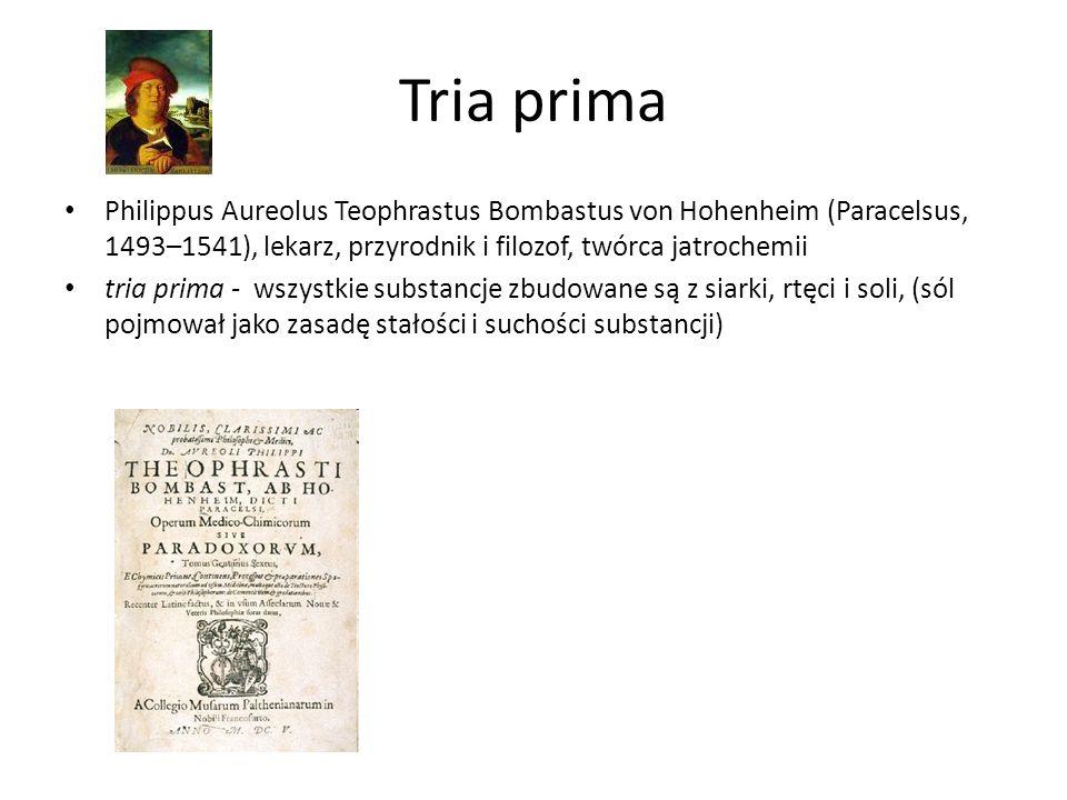 Tria prima Philippus Aureolus Teophrastus Bombastus von Hohenheim (Paracelsus, 1493–1541), lekarz, przyrodnik i filozof, twórca jatrochemii tria prima - wszystkie substancje zbudowane są z siarki, rtęci i soli, (sól pojmował jako zasadę stałości i suchości substancji)
