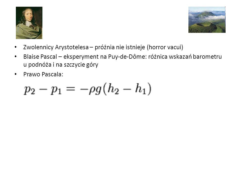Zwolennicy Arystotelesa – próżnia nie istnieje (horror vacui) Blaise Pascal – eksperyment na Puy-de-Dôme: różnica wskazań barometru u podnóża i na szczycie góry Prawo Pascala:
