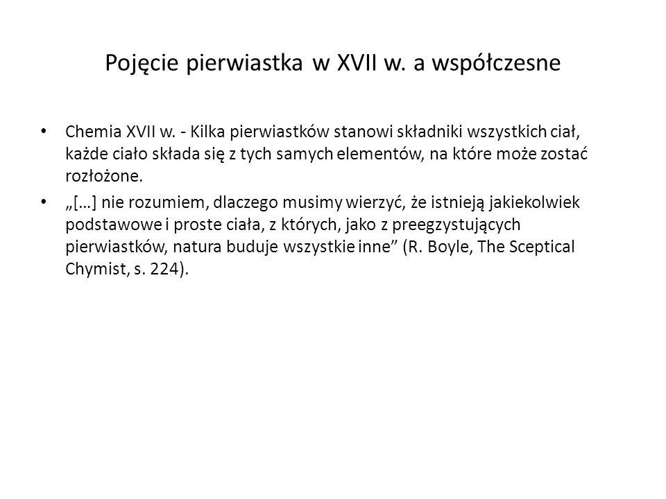 Pojęcie pierwiastka w XVII w.a współczesne Chemia XVII w.