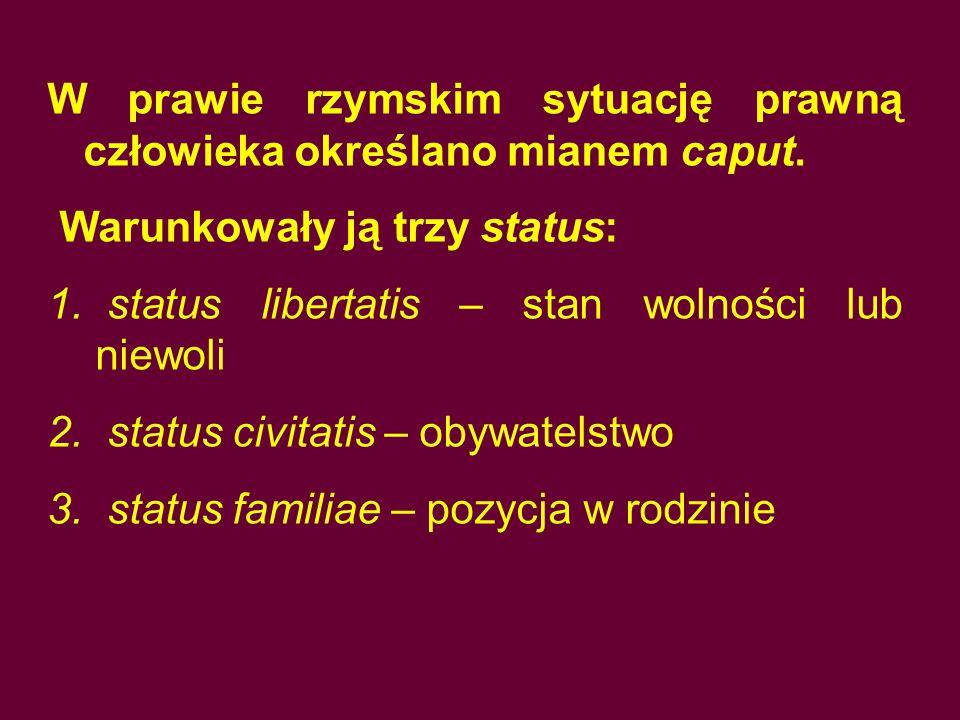 W prawie rzymskim sytuację prawną człowieka określano mianem caput. Warunkowały ją trzy status: 1. status libertatis – stan wolności lub niewoli 2. st