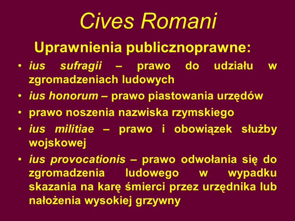 Cives Romani Uprawnienia publicznoprawne: ius sufragii – prawo do udziału w zgromadzeniach ludowych ius honorum – prawo piastowania urzędów prawo nosz
