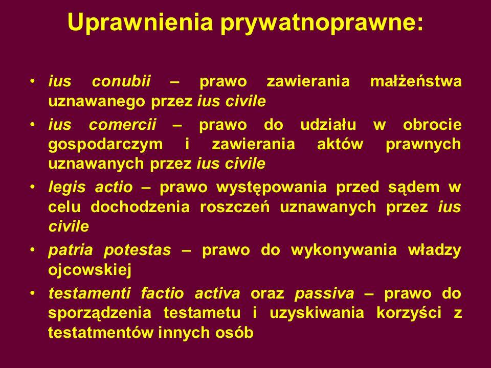 Uprawnienia prywatnoprawne: ius conubii – prawo zawierania małżeństwa uznawanego przez ius civile ius comercii – prawo do udziału w obrocie gospodarcz
