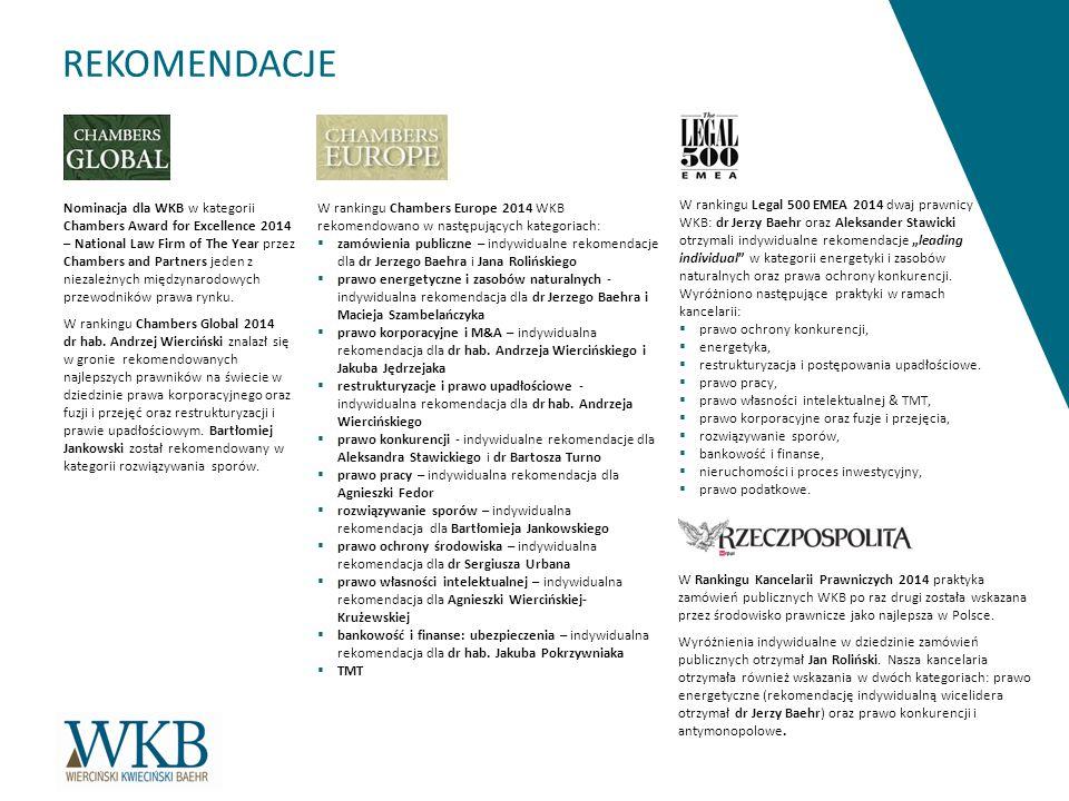 REKOMENDACJE Nominacja dla WKB w kategorii Chambers Award for Excellence 2014 – National Law Firm of The Year przez Chambers and Partners jeden z niezależnych międzynarodowych przewodników prawa rynku.