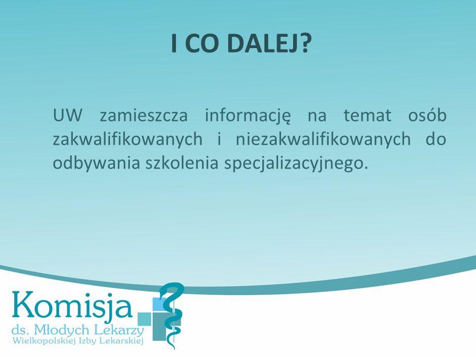 I CO DALEJ? UW zamieszcza informację na temat osób zakwalifikowanych i niezakwalifikowanych do odbywania szkolenia specjalizacyjnego.