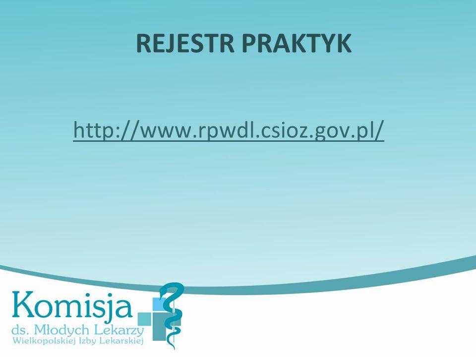 REJESTR PRAKTYK http://www.rpwdl.csioz.gov.pl/