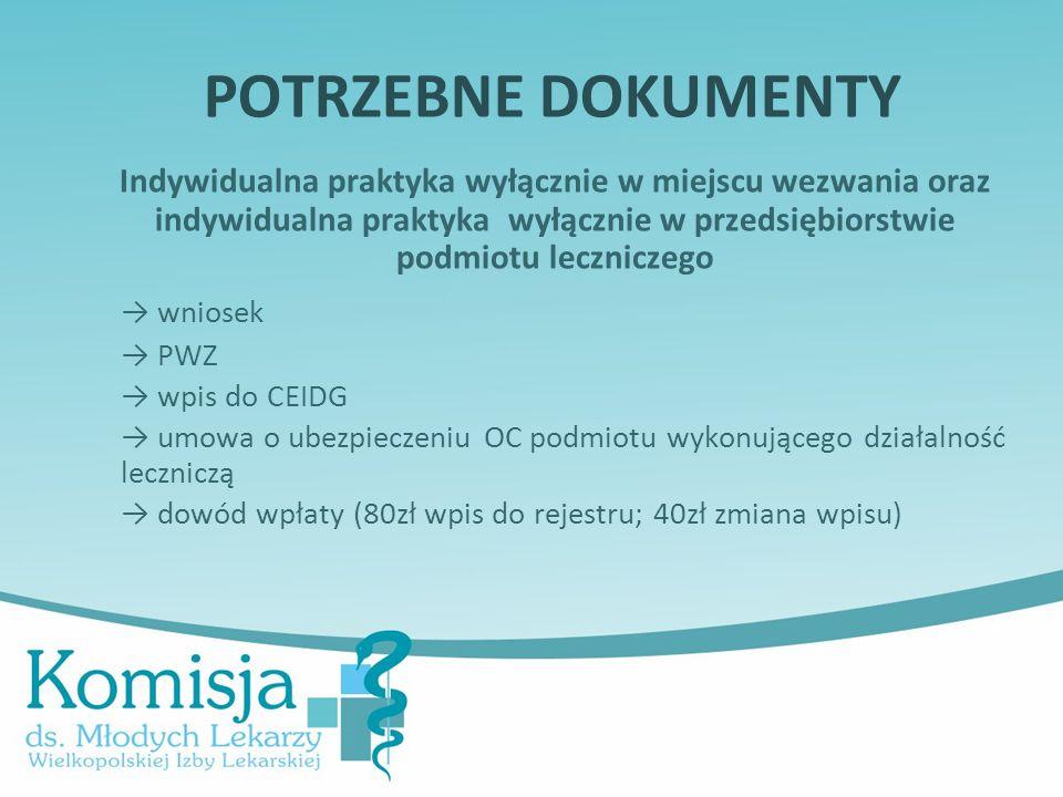 POTRZEBNE DOKUMENTY Indywidualna praktyka wyłącznie w miejscu wezwania oraz indywidualna praktyka wyłącznie w przedsiębiorstwie podmiotu leczniczego →