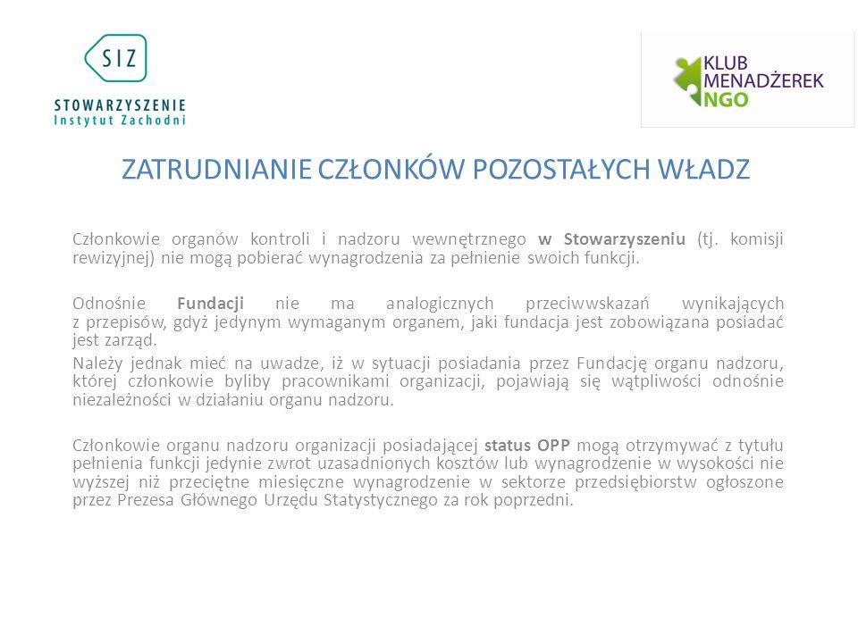 Członkowie organów kontroli i nadzoru wewnętrznego w Stowarzyszeniu (tj.