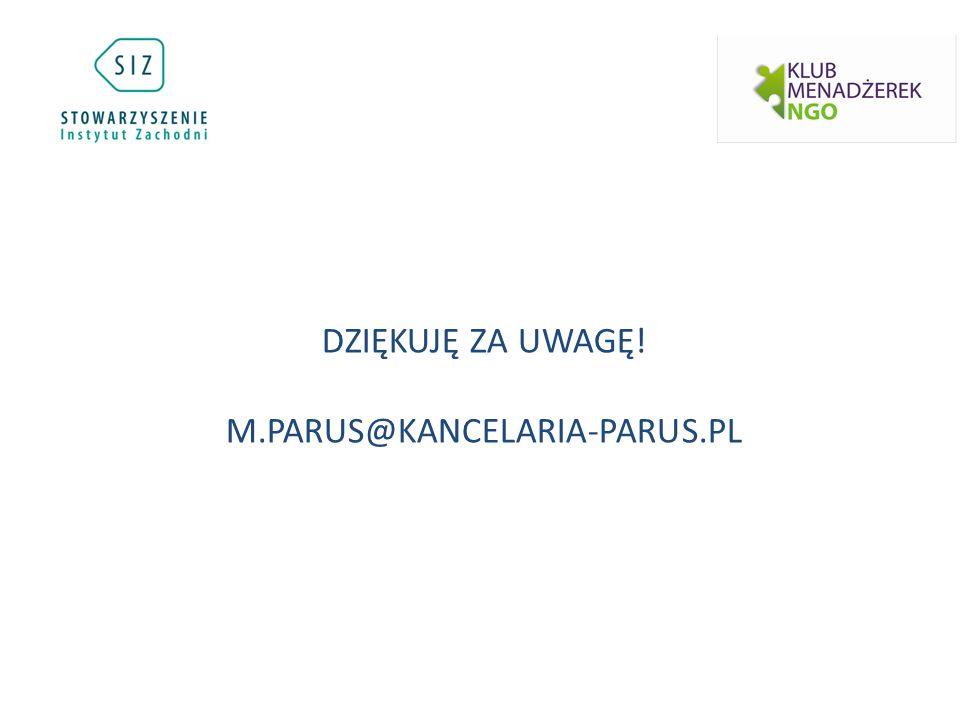 DZIĘKUJĘ ZA UWAGĘ! M.PARUS@KANCELARIA-PARUS.PL
