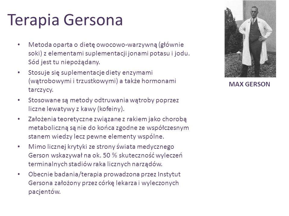 Przykładowe terapie czerniaka za pomocą terapii Gersona
