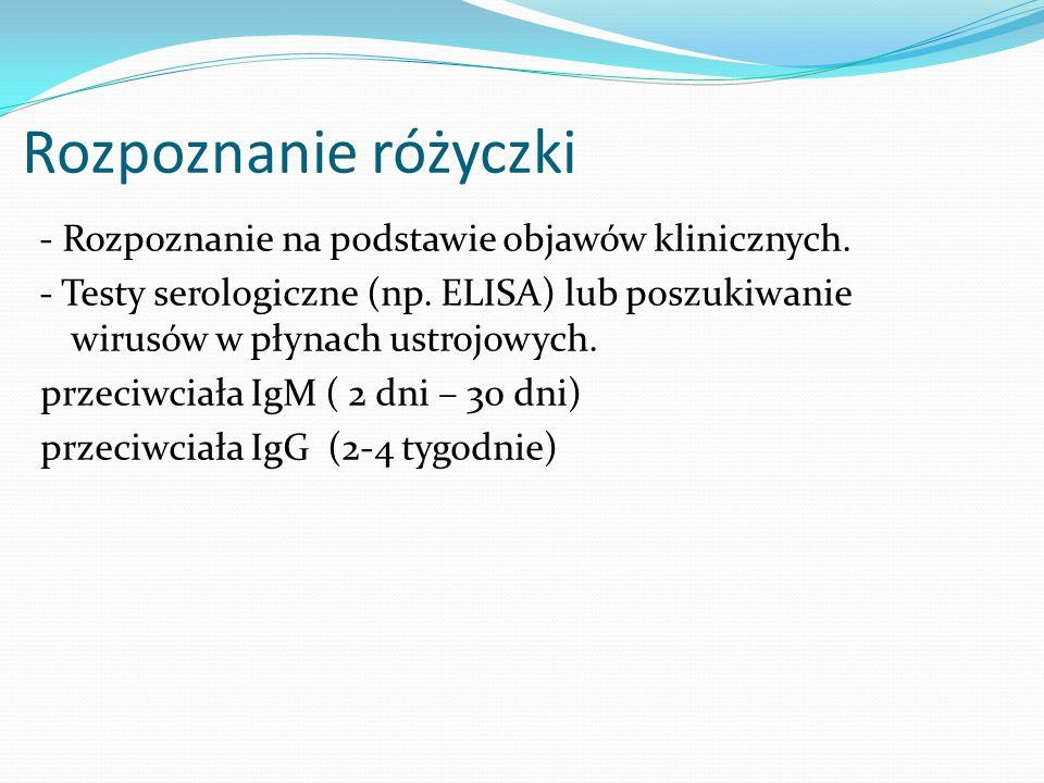 Rozpoznanie różyczki - Rozpoznanie na podstawie objawów klinicznych.