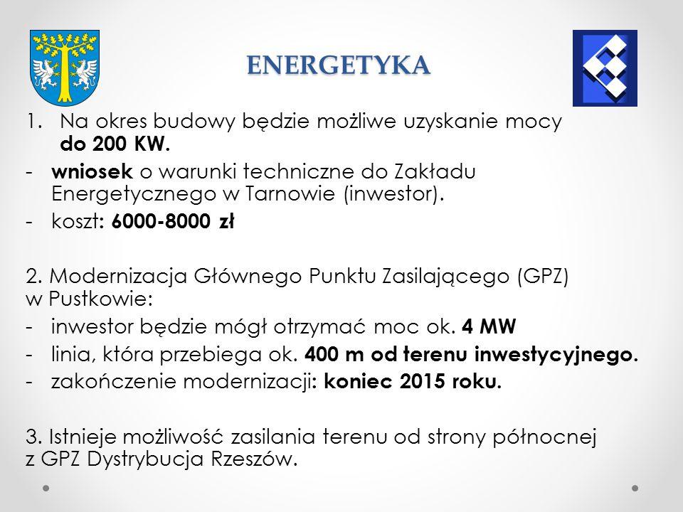 Przesył w granicach 70–80 m³/h: - z gazociągu który znajduje się na terenie inwestycyjnym o średnicy PE 63.