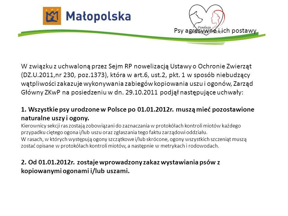 Psy agresywne i ich postawy W związku z uchwaloną przez Sejm RP nowelizacją Ustawy o Ochronie Zwierząt (DZ.U.2011,nr 230, poz.1373), która w art.6, us