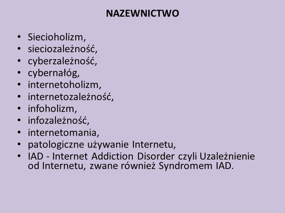 NAZEWNICTWO Siecioholizm, sieciozależność, cyberzależność, cybernałóg, internetoholizm, internetozależność, infoholizm, infozależność, internetomania,